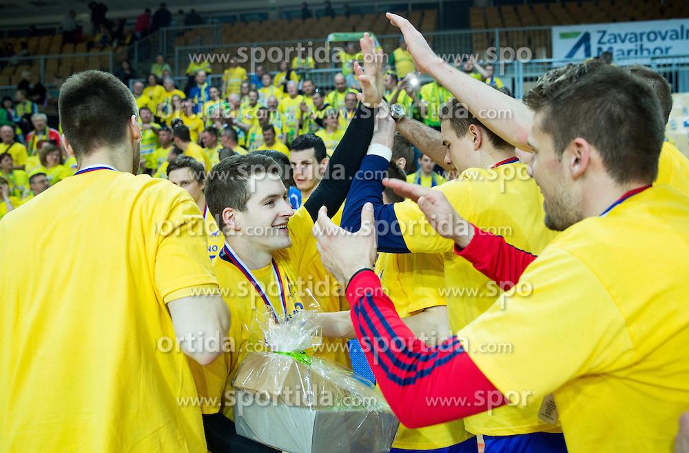 MVP Miha Zarabec of RK Celje PL celebrates after winning during handball match between RK Celje Pivovarna Lasko and RK Gorenje Velenje in Final of Slovenian Handball Cup 2015, on March 29, 2015 in Arena Bonifika, Koper, Slovenia. RK Celje Pivovarna Lasko became Slovenian Cup Champion 2015. Photo by Vid Ponikvar / Sportida