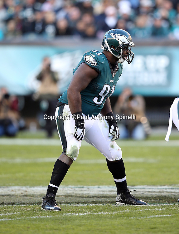 Philadelphia Eagles defensive end Fletcher Cox (91) gets set during the 2015 week 10 regular season NFL football game against the Miami Dolphins on Sunday, Nov. 15, 2015 in Philadelphia. The Dolphins won the game 20-19. (©Paul Anthony Spinelli)