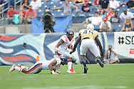 Ole Miss Rebels running back Mark Dodson (7) vs. Vanderbilt Commodores linebacker Stephen Weatherly (45) at L.P. Field in Nashville, Tenn. on Saturday, September 6, 2014. Ole Miss won 41-3.