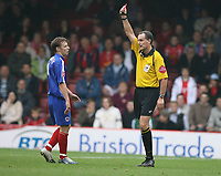 Photo: Rich Eaton.<br /> <br /> Bristol City v Crewe Alexander. Coca Cola League 1. 14/10/2006. referee Mr Crossley sends of Gary Roberts of Crewe