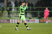 Forest Green Rovers Dayle Grubb(8) applauds the fans as he is substituted during the EFL Sky Bet League 2 match between Forest Green Rovers and Cambridge United at the New Lawn, Forest Green, United Kingdom on 20 January 2018. Photo by Shane Healey.