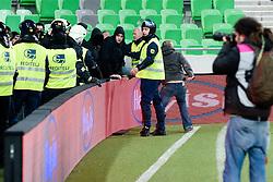 Green Dragons members going to the football court during football match between NK Olimpija and NK Maribor in Prva Liga, March 12, 2011 at SRC Stozice, Ljubljana, SLO. (Photo By Matic Klansek Velej / Sportida.com)