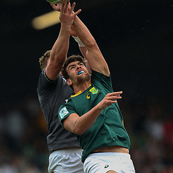Ben Jason Dixon of South Africa U20 and Joe Dunleavy of Ireland U20 during the U20 World Championship match between Ireland and South Africa on June 3, 2018 in Narbonne, France. (Photo by Manuel Blondeau/Icon Sport)