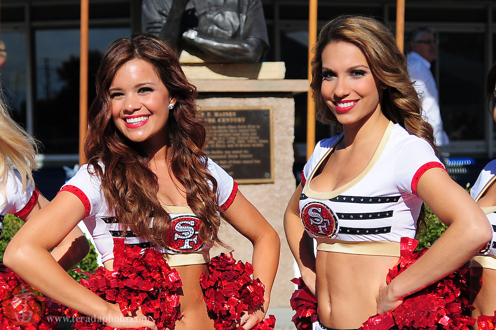 June 3, 2012; Santa Clara, CA, USA; San Francisco 49ers Gold Rush cheerleaders Alexa (left) and Melissa (right) in the Santa Clara international grand prix at the George F. Haines International Swim Center.