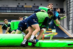 Duncan Weir tackles Darren Barry of Worcester Warriors during training ahead of the Premiership Rugby fixture against Bristol Bears - Mandatory by-line: Robbie Stephenson/JMP - 21/03/2019 - RUGBY - Sixways Stadium - Worcester, United Kingdom - Worcester Warriors Training