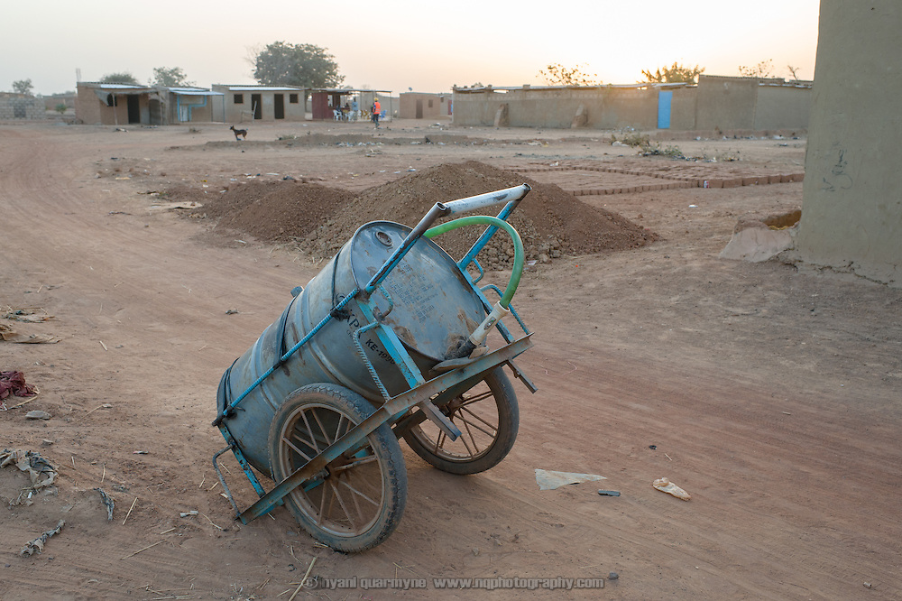 A water cart in the informal settlement of Zongo in Burkina Faso's capital, Ouagadougou, on 19 February 2016.