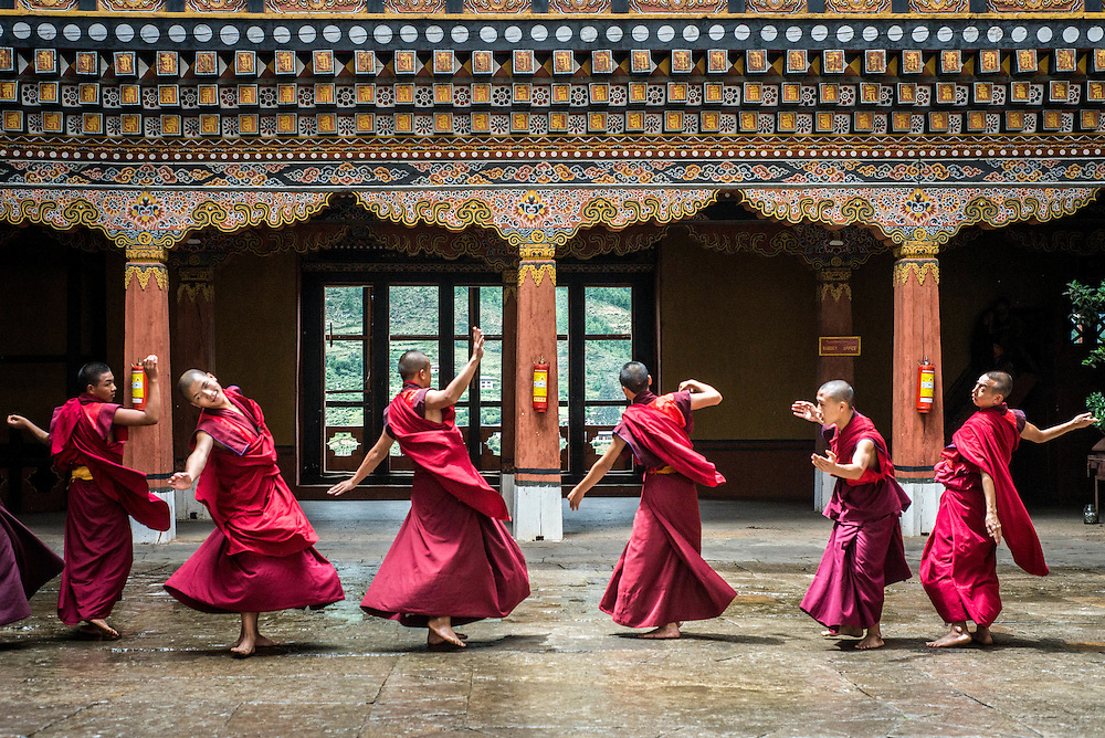 Dacning monks, Paro, Bhutan<br />