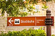 Street sign to Skocibuha Castle, Sudurad, Sipan Island, Dalmatian Coast, Croatia