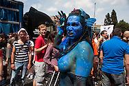 Roma 11 Giugno 2011.EuroPride 2011.La Sfilata del Gay pride, la giornatà dell' orgoglio omossessuale per le vie della città.