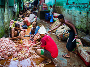 23 NOVEMBER 2017 - YANGON, MYANMAR: Workers pluck and clean freshly killed chickens in the poultry section of the San Pya Fish Market.     PHOTO BY JACK KURTZ