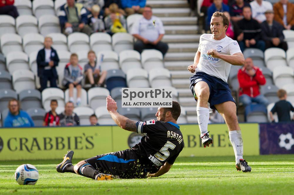 Kevin Davies scores the third for Preston, Preston North End vs Stevenage Borough, SkyBet League 1, 14th September 2013. (c) Thomas Miller | SportPix.org.uk