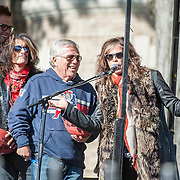 05 November 2012: Patriots Tom Brady and Patriots owners Robert and Jonathan Kraft with Aerosmith's Steven Tyler and Joe Perry before Aerosmiths' free concert  in Allston.  Thousands of fans filled Commonwealth Avenue to watch Aerosmith play in front of the building (No. 1325) where band members once lived.  Boston, MA. ***Editorial Use Only*****