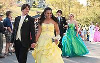 Rene Neveu escorts Talia Leblanc for Laconia High School's Junior Prom march at Steele Hill Resort Friday evening.  (Karen Bobotas/for the Laconia Daily Sun)Laconia High School Junior Prom grand march at Steele Hill Resort Sanbornton May 13, 2011.