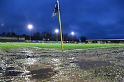 Puddles in the The New Lawn, home of Forest Green Rovers pitch after the match was abandoned during the EFL Sky Bet League 2 match between Forest Green Rovers and Mansfield Town at the New Lawn, Forest Green, United Kingdom on 15 December 2018.