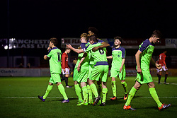 ALTRINGHAM, ENGLAND - Friday, March 10, 2017: Liverpool's Glen McAuley celebrates scoring the first goal against Manchester United during an Under-18 FA Premier League Merit Group A match at Moss Lane. (Pic by David Rawcliffe/Propaganda)