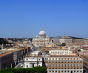 St. Peter's Basilica in the Vatican City, Italy. The church is the most renowned work of Renaissance architecture, and was designed by Donato Bramante, Michelangelo, Carlo Maderno and Gian Lorenzo Bernini. The original basilica is from 4th century AD, but the current design was completed in 1626. This image shows the Basilica at a distance.