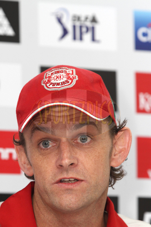 Captain Adam Gilchrist of the Kings XI Punjab during the post match press conference during match 60 of the Indian Premier League ( IPL ) Season 4 between the Kings XI Punjab and the Delhi Daredevils held at the The HPCA Stadium in Dharamsala, Himachal Pradesh, India on the 15th May 2011..Photo by Shaun Roy/BCCI/SPORTZPICS