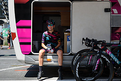 Alena Amialiusik (CANYON//SRAM Racing) finds a spot in the shade ahead of Giro Rosa 2016 - Stage 6. A 118.6 km road race from Andora to Alassio, Italy on July 7th 2016.