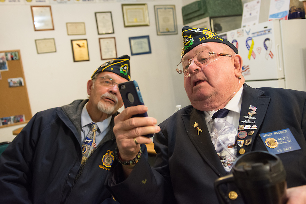 District 1 chaplain Danny Waldrop, right, and Post 1 Vice Commander Richard Dickerson at American Legion Post 1 in Reno, Nev. before a System Worth Saving town hall on Tuesday, March 8, 2016. Photo by David Calvert /The American Legion.