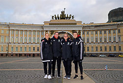 SAINT PETERSBURG, RUSSIA - Monday, October 23, 2017: Wales' Jessica Fishlock, Helen Ward, Rachel Rowe and Hayley Ladd pose for a portrait in Palace Square outside the Winter Palace ahead of the FIFA Women's World Cup 2019 Qualifying Group 1 match between Russia and Wales. (Pic by David Rawcliffe/Propaganda)