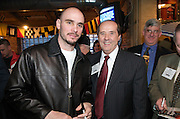 """Kelly """"The Ghost"""" Pavlik and Tom Humphries of the Youngstown-Warren Regional Chamber at the Valley Magazine launch party at the Youngstown Crab Co. on Feb. 21, 2008."""