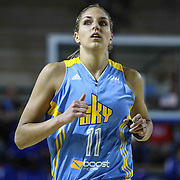 Chicago Sky Forward Elena Delle Donne (11) jogs up court in the first period of a WNBA preseason basketball game between the Chicago Sky and the New York Liberty Friday, May. 22, 2015 at The Bob Carpenter Sports Convocation Center in Newark, DEL