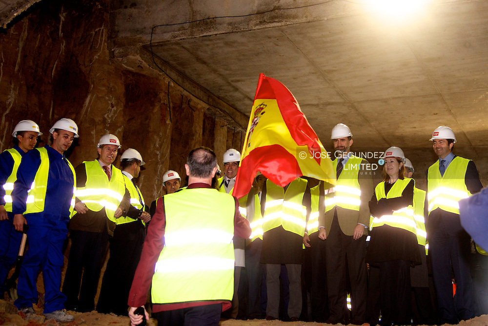Prince Felipe of Spain Visits the extension project of Metro (underground) Line 9 in Madrid