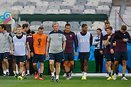 England manager Roy Hodgson leads his team onto the pitch during the England training session the day before their final Group D match against Costa Rica at Mineirão, Belo Horizonte, Brazil. <br /> Picture by Andrew Tobin/Focus Images Ltd +44 7710 761829<br /> 23/06/2014