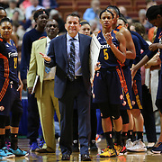 UNCASVILLE, CONNECTICUT- JUNE 5:   Head Coach Curt Miller, Connecticut Sun, questions a call during during the Indiana Fever Vs Connecticut Sun, WNBA regular season game at Mohegan Sun Arena on June 3, 2016 in Uncasville, Connecticut. (Photo by Tim Clayton/Corbis via Getty Images)