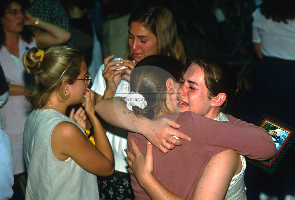Students mourn their friends killed aboard TWA Airlines Flight 800 July 18, 1996 in Montoursville, PA. TWA Flight 800 exploded off East Moriches, NY with the loss of 230 lives including 21 students from the town.