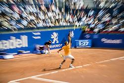 April 25, 2018 - Barcelona, Catalonia, Spain - RAFAEL NADAL (ESP) serves against Roberto Carballes Baena (ESP) during Day 3 of the 'Barcelona Open Banc Sabadell' 2018. Nadal won 6-4,6-4 (Credit Image: © Matthias Oesterle via ZUMA Wire)