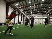 March 14, 2014; Severn, MD, USA; The Baltimore Mariners hold a final full team practice at the Annapolis Area Christian School indoor facility before their first preseason game against the ASI Panthers. Mandatory Credit: Brian Schneider/www.ebrianschneider.com