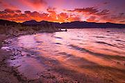 Sunset over the Sierra Nevada from Mono Lake, Mono Basin National Scenic Area, California