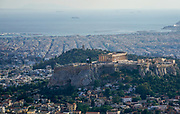 Greece, Athens, elevated view of the city as seen from Lycabetous hill. Acropolis Hill in the centre