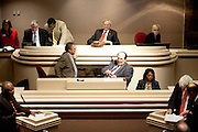 Members of the Alabama House of Representatives, including Representative Seth Hammett, Speaker of the Alabama House (top, center), in session at the Alabama State House in Montgomery, Alabama April 14, 2010.