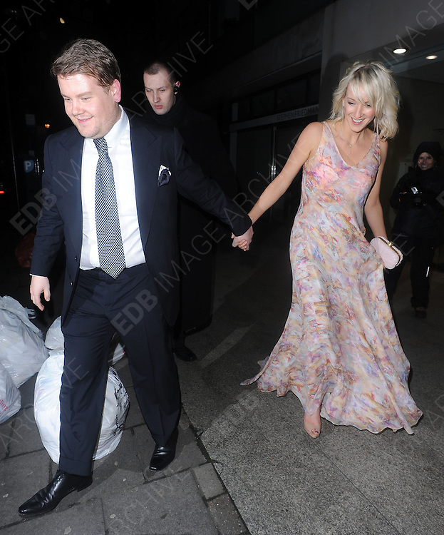 12.FEBRUARY.2012. LONDON<br /> <br /> JAMES CORDEN AND JULIA CAREY AT THE WEINSTEIN COMPANY AND ENTERTAINMENT FILM DISTRIBUTION POST BAFTA EVENT AT THE LE BARON, EMBASSY CLUB, LONDON<br /> <br /> BYLINE: EDBIMAGEARCHIVE.COM<br /> <br /> *THIS IMAGE IS STRICTLY FOR UK NEWSPAPERS AND MAGAZINES ONLY*<br /> *FOR WORLD WIDE SALES AND WEB USE PLEASE CONTACT EDBIMAGEARCHIVE - 0208 954 5968*