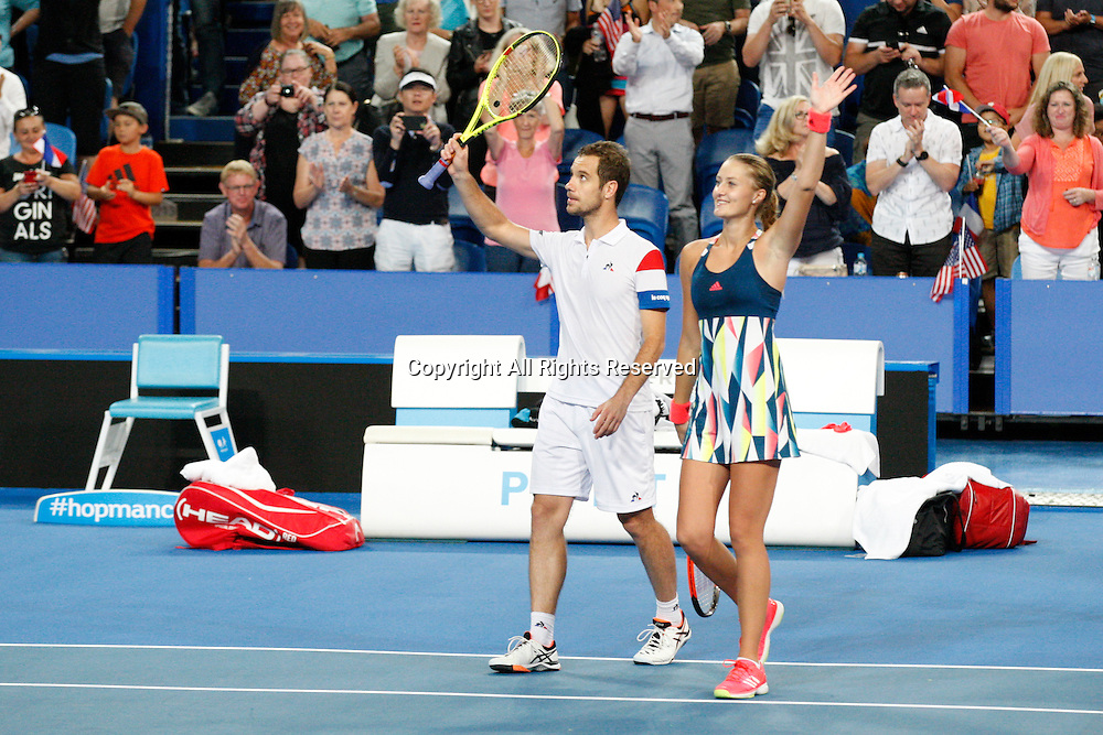 07.01.2017. Perth Arena, Perth, Australia. Mastercard Hopman Cup International Tennis tournament. Richard Gasquet (FRA) and Kristina Mladenovic (FRA) win the live Mixed Doubles Final against Sock/Vandeweghe (USA) 4-1, 4-3.
