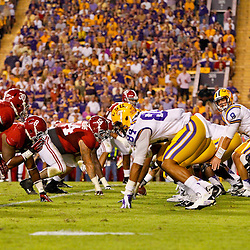 November 3, 2012; Baton Rouge, LA, USA; LSU Tigers quarterback Zach Mettenberger (8) under center against the Alabama Crimson Tide during the first half of a game at Tiger Stadium.  Mandatory Credit: Derick E. Hingle-US PRESSWIRE