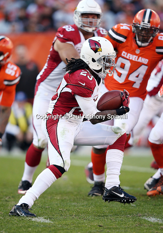 Arizona Cardinals running back Chris Johnson (23) runs for a 4 yard gain in the fourth quarter during the 2015 week 8 regular season NFL football game against the Cleveland Browns on Sunday, Nov. 1, 2015 in Cleveland. The Cardinals won the game 34-20. (©Paul Anthony Spinelli)