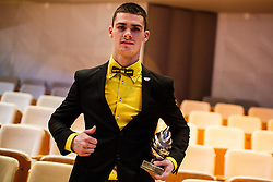 Tim Gajser with 3rd place trophy for Slovenin sport athlete of the year at Slovenian Sports personality of the year 2016 annual awards presented on the base of Slovenian sports reporters, on December 13, 2016 in Cankarjev dom, Ljubljana, Slovenia. Photo by Grega Valancic / Sportida
