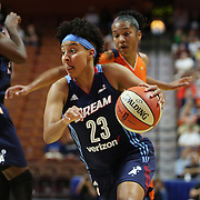 UNCASVILLE, CONNECTICUT- JUNE 3:   Layshia Clarendon #23 of the Atlanta Dream during the Atlanta Dream Vs Connecticut Sun, WNBA regular season game at Mohegan Sun Arena on June 3, 2016 in Uncasville, Connecticut. (Photo by Tim Clayton/Corbis via Getty Images)