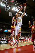 Ohio State recruit Kosta Koufos battles for a rebound with Michael Beasley during action in the McDonald's All American High School Basketball Team games at Freedom Hall in Louisville, Kentucky on March 28, 2007.