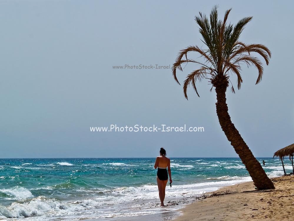 Egypt, Sinai Peninsula Tourist on vacation on the beach