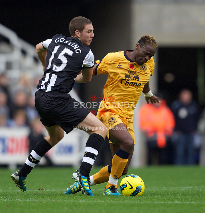 NEWCASTLE-UPON-TYNE, ENGLAND - Saturday, November 5, 2011: Everton's Louis Saha in action against Newcastle United's Dan Gosling during the Premiership match at St. James' Park. (Pic by Vegard Grott/Propaganda)