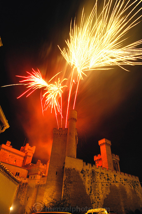 Feast day fireworks over the castle of Olite, Navarra, Spain.