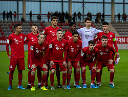 MUNICH, GERMANY - Wednesday, December 11, 2019: Bayern Munich players line-up for a team group photograph before the final UEFA Youth League Group B match between FC Bayern München and Tottenham Hotspur at the FC Bayern Campus. Back row L-R: Oliver Batista Meier, David Halbich, Jahn Herrmann, Jamie Lawrence, goalkeeper Jakob Mayer, captain Flavius Daniliuc. Front row L-R: Ryan Johansson, Dennis Waidner, Jamal Musiala, Taylor Booth, Benjamin Hofmann. (Pic by David Rawcliffe/Propaganda)