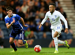 Nathan Redmond of England U21 and Emerson Hyndman of USA U23  - Mandatory byline: Matt McNulty/JMP - 07966386802 - 03/09/2015 - FOOTBALL - Deepdale Stadium -Preston,England - England U21 v USA U23 - U21 International