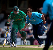 Graeme Smith not run out by Calum MacLeod during the ICC World Twenty20 Cup match between South Africa and Scotland at the Oval. Photo © Graham Morris (Tel: +44(0)20 8969 4192 Email: sales@cricketpix.com)