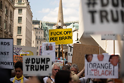 """© Licensed to London News Pictures . 13/07/2018. London, UK. """" Fuck off pee brain """" placard . Demonstrators march from Portland Place to Trafalgar Square in protest against US President Donald Trump's UK visit . Photo credit: Joel Goodman/LNP"""
