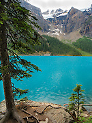 Moraine Lake on an overcast, rainy day; Banff National Park, Alberta, Canada